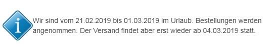 Urlaubshinweis 21.02.-01.03.2019